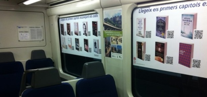 View of the offerings on Spanish Bibliotren, or reading train