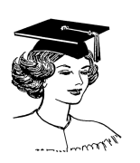 cartoon of a woman wearing a mortarboard
