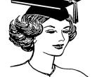 cartoon of a woman wearing a mortarboard