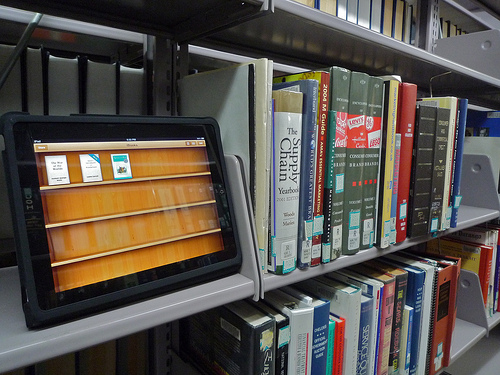 tablet on library shelf