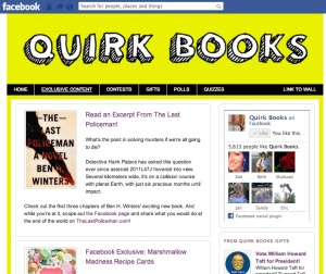 A screen shot of the Quirk Books app on Facebook