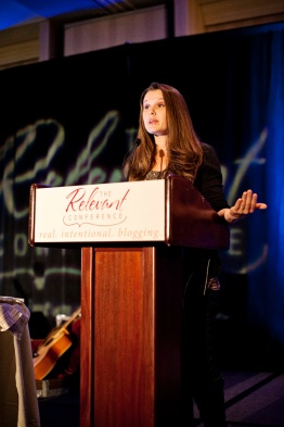 Jessica Heights speaks at the Relevant conference