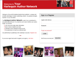 Screenshot of the Harlequin Authors Network homepage, http://authornetwork.harlequin.com/
